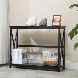 Contemporary 2 Tier Console Tables Accent Storage Shelf Hall