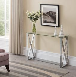 Contemporary Chrome Finish / Glass Top Console Sofa Table wi