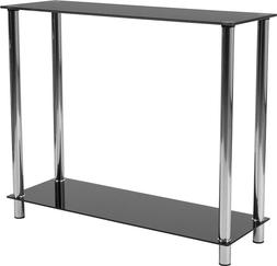 Contemporary Design Black Glass Console Table with Shelves &