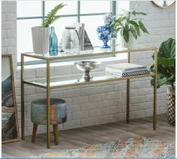 Metal Glass Gold Console Table Sofa Accent Display Entryway