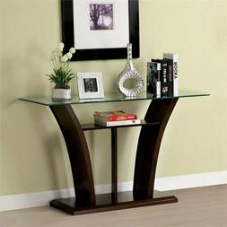 contemporary lantler glass top console table in