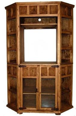 Corner TV Bookcase Real Wood Western Rustic Custom Stain Fla