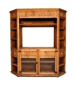 Large Corner TV Bookcase Real Wood Western Rustic Flat Scree