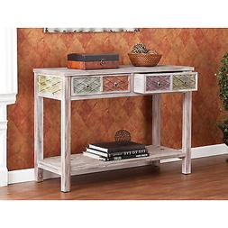 CST36995 WHITE GRAY WASH WEATHERED CONSOLE TABLE WITH 2 MULT