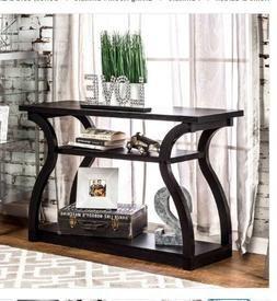 Curvy 'Sara' Black Finish Console Table