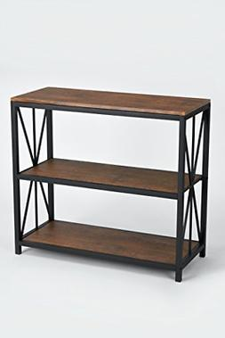 Dark Coffee Black Metal Frame 3-tier Console Table Bookcase