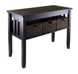 Winsome Dark Espresso Console Hallway Table with 3 Corn Husk