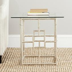 Safavieh Dermot Iron and Glass Accent Table in Silver