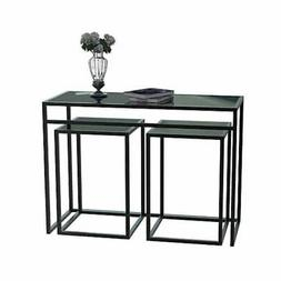 Designs2Go Classic Glass 3 Piece Console Table Set, Black, G
