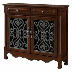 drawer scroll console light cherry