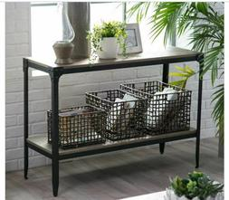 Driftwood Look Metal Console Table Accent Entry Wood Hall Ru