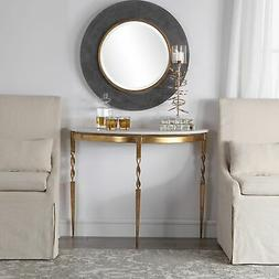 Elegant Demilune Console Table Sofa Entryway White Marble &