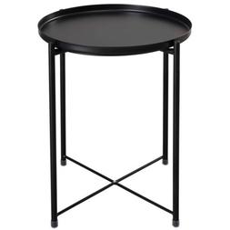 End Side Table Folding Tray Metal  Scalloped Console Black 1