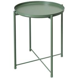 End Side Table Folding Tray Metal Scalloped Console Green 16