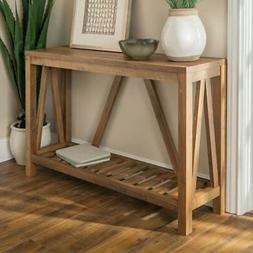 Entry Console Table 52 in. Slatted Bottom Shelf Wood Rustic
