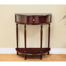 Entry Half Moon Console Sofa Table Narrow w/Drawer Hallway C
