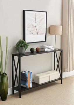 Entry Table Console Furniture Accent Industrial Vintage Blac