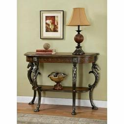 Entryway Console Sofa Table with Horse Head Accents and Flor