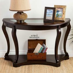 Entryway Console Table Carved Shelf Glass Top Dark Brown Woo