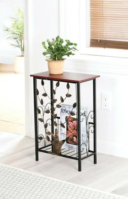 Entryway Console Table w/ Magazine Holder Metal Tree Design