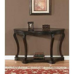 Entryway Console Table Wooden Glass Top Dark Brown Sofa Side