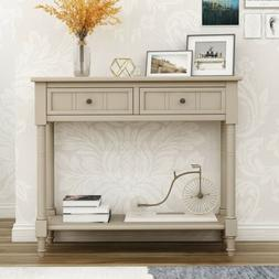Entryway Console Table Wooden Sofa Table w/2 Drawers and Bot