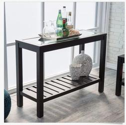 Entryway Table Console Sofa Storage Hallway Wood Black Glass