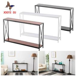 Entryway Wood Console Table Modern Sofa Accent with Shelf St