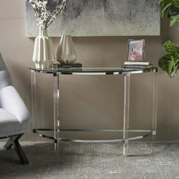 erin modern tempered glass console table