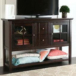 "WE Furniture Espresso 52"" Modern Console Table Wood TV Stand"