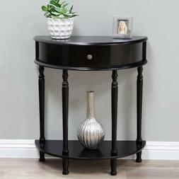 Espresso Wood Console End Table Nightstand D Half Circle Sto