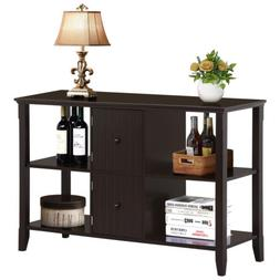 Espresso Console Table Sofa Wood Drawers Foyer Entry Hallway