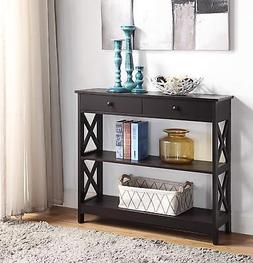 Espresso Finish 3-tier Console Sofa Entry Table with Shelf/T