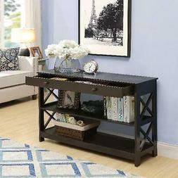 Espresso Finish Console Table W/ 1-Drawer Home Living Room D