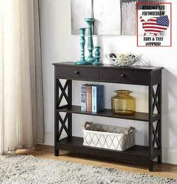 Espresso Sofa Side Console Narrow Accent Table with Drawer a