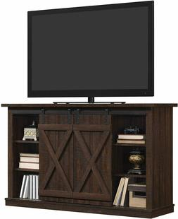espresso tv stand with sliding barn door