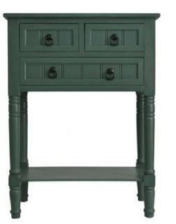 Farmhouse Chest 3 Drawers Teal Wood Nightstand Console Table
