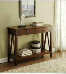 farmhouse console table sofa accent hall wood
