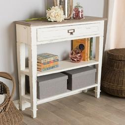 Farmhouse Console Table Storage Drawer Distressed Rustic Cou