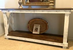 Farmhouse Real Wood Console Table - Distressed White/Dark Br