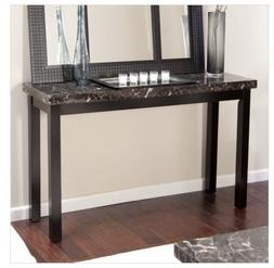 Faux Marble Top Console Table Contemporary Wood Accent Hallw