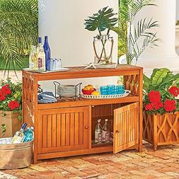 Outdoor Natural Finish Eucalyptus Wood Buffet Server Cabinet