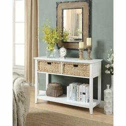 Benzara Flavius Console Table with Wicker Drawers