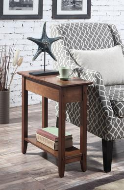 Flip Top End Table Sofa Side Console Accent Concealed Storag