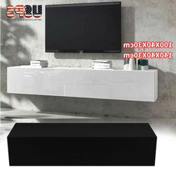 Floating TV Stand Wall Console Table W/ Cabinet & Shelves Li