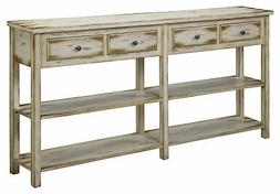 Coast To Coast Four Drawer Console Table With Ada Antique Wh