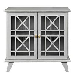 "32"" Fretwork Accent Console - Gray"