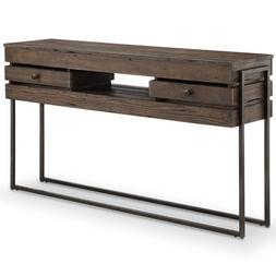 251 First Fulton Rustic Dark Whiskey Reclaimed Wood Rectangu