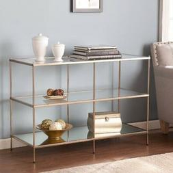 Glam Gold-Finished Iron And Glass Tabletop Console Table