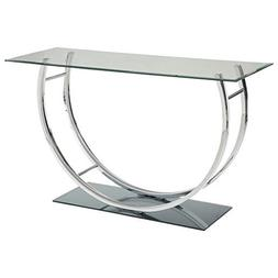 Coaster 704989-CO Glass Top Console Table, Chrome